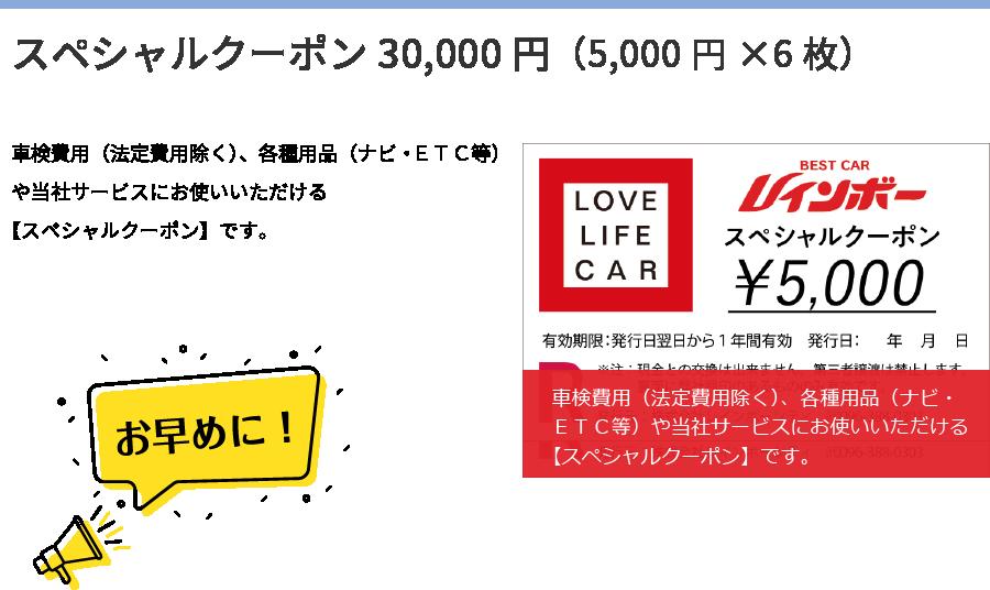 スペシャルクーポン30,000円(5,000円×6枚)